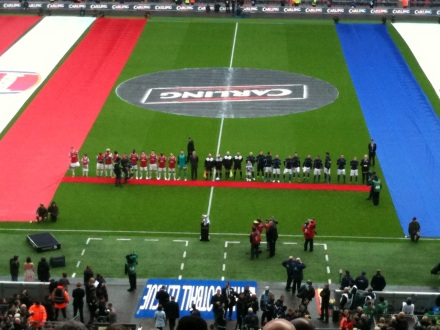 Arsenal and Birmingham prior to the Carling Cup Final 2011.